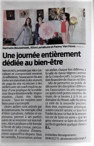 article journée bien être avec Nathalie Boussinesq à Eysines